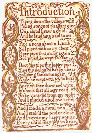 William Blake songs of innocence introduction